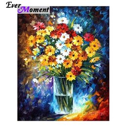 paintings bottles NZ - Ever Moment Diamond Painting Flower Bottle Flora Colorful 5D DIY Full Square Resin Diamond Embroidery Mosaic Art ASF2071 0924