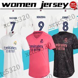 Wholesale girl s jersey for sale – custom Women Real madrid soccer jersey HAZARD BENZEMA Female soccer shirt home white away pink girls football uniform On sale