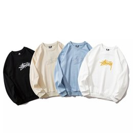 Wholesale stussy hoodie online – oversize 2020 New Stussy High Quality Cotton Fabric Hoodie Terry Hooded Pocket Sweatshirt Stussy Terry Hoodie Black White Blue Apricot M XXL B908