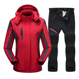 Wholesale wind pants women resale online - Ski Suit For Women Winter Waterproof Breathable Warm Snowboard Jacket and Pants Wind Resistant Outdoor Female Ski Snowboard Suit