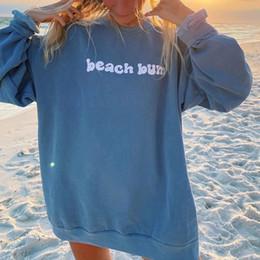 Wholesale streetwear style girl for sale – custom Blue Letter Print Vintage Oversized Sweatshirt Women Long Sleeve Pullover Casual Streetwear Girls Autumn New USA England Style