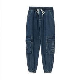 Wholesale man cargo jean pant for sale – denim Male Streetwear Hip Hop Vintage Fashion Loose Jean Trousers Men Casual Elastic Waist Ankle length Jeans Cargo Denim Pant