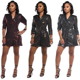 sequin lapel dress Australia - Dresses Casual Females Clothing Sexy Womens Casual Dresses Fashion Slim Sequins Panelled One Button Womens Blazer