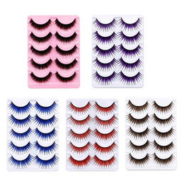 colorful eyelashes NZ - 5Pairs Colorful Long Thick Fake Eye Lash Makeup Stage Party Eyelash Extension Mink Lashes Fluffy False Eyelashes Natural Eyelash
