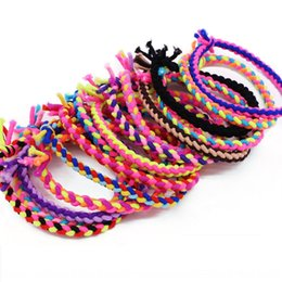 black braided hair styles NZ - Korean style hand-woven braid Rubber rope children's hair rope high elastic knot braid rubber band hair band 2 yuan shop accessories