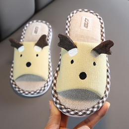 cute home slippers NZ - Designer Huili Couple's Indoor Spring and Autumn Linen Slippers Female Cute Parent-Child Home Non-Slip Children's Cotton Slippers Summer