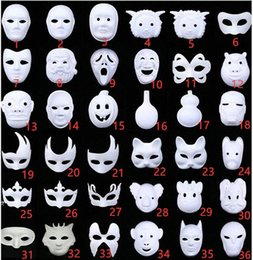 diy paint masquerade mask UK - DIY Hand Painted Halloween White Face Mask Crown Butterfly Blank Paper Mask Masquerade Cosplay Mask Kid Draw Party Masks Props Dm2h#