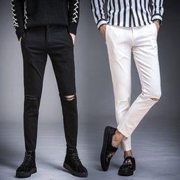 Wholesale jeans capri resale online - Men S Jeans Slim Fit Pants Elasticity Versatile Capri Pants Young Men S Youth Male