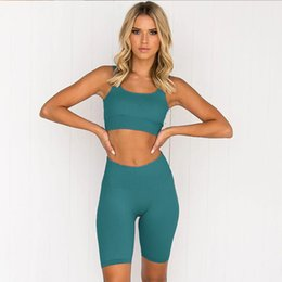 pullover bras UK - 2020 European quick-drying seamless high-elastic sports bra running five-point pants shorts suit yoga clothes female fitness needs