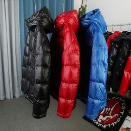 Mens inverno jaqueta parka de alta qualidade para os homens das mulheres negras vermelhas azuis para baixo pato jaqueta com capuz casaco fashion manter quente para baixo casaco em Promoção