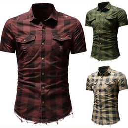 Wholesale short sleeve plaid shirt men resale online - Men Shirt Summer Casual Shirt Short Sleeve Cotton Men s Slim Fit Button Plaid With Pocket Short Sleeve Tops Blouse Tops