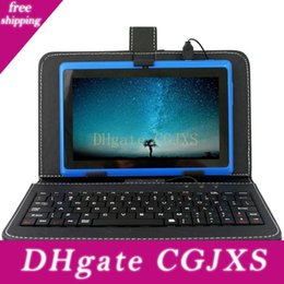 Wholesale leather micro mini resale online - 7 Inch Keyboards Leather Cover Cases Flip Stand Mini Usb Micro Usb For Q88 Tablet Pc