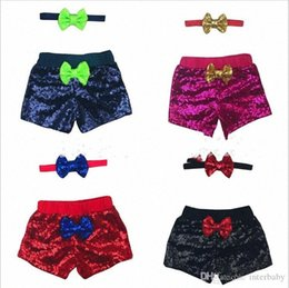 glitter sequin shorts wholesale NZ - Sequins Baby Clothes Glitter Shorts Headband Suits Bling Dance Pants Hairband Outfits Boutique Bowknot Shorts Headwear Princess BYP503 r3F5#