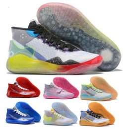 durant shoes NZ - 12 Durant Kd Cheap Mens Basketball Kevin Shoes Aunt Pearl Peach Jam Warriors Home Eybl Nationals 12s Team Bank Blue New Scarpe Sneakers