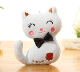 kitty cat dolls Canada - Baby Doll Keychain Plush Animal Stuffed Kitty Cat Key Chain For Bag Toy Key Ring Kids Party Plush Toy Baby Faux Fur Plush Dolls