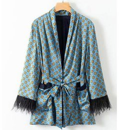 Wholesale lace kimono jacket resale online - 2020 Set Printed Kimono Jacket with Feather Sleeves Wide Leg Loose Trousers Women Cuasal Vintage Belt Clothing Suits