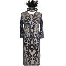 Wholesale flapper dresses 1920s resale online - Ladies s s Green Roaring Flapper Costume Black Sequin Gatsby Fancy Dress