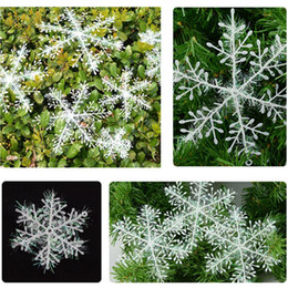 plastic snowflakes decorations Canada - 3pcs lot Christmas Decoration Snowflake Christmas Tree Ornament Plastic Snow Flake Artificial Snowflake Decoration Party Supplies VT0538