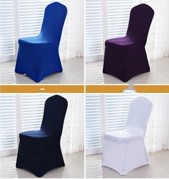 white wedding chairs wholesale UK - New Arrive Universal White spandex Wedding Party chair covers White spandex lycra chair cover for Wedding Party Banquet many color YSY420