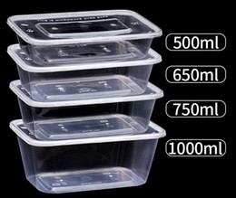 Wholesale 500 650 750ml 1000ML Disposable Food Box Take Out Case Rectangle Shape Food Container for Cake Food Holder 300pcs lot free fast shipping