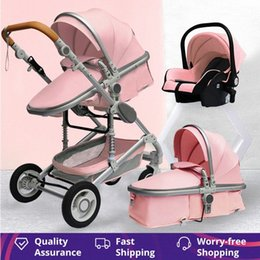 Baby Stroller 3 in 1 Portable Travel Baby Carriage Fold Pram High Landscape Aluminum Frame Newborn Infant Stroller Bhi2#