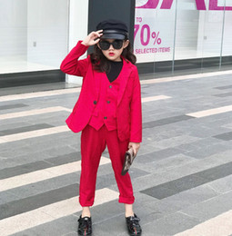 Autumn new children suits 2020 preppy style Boys Girls red long sleeve suit outwear+waistcoat +pants 3pcs kids Christmas sets A4068 on Sale