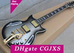 hollow guitar black UK - Factory -Customized New Oem Silver Cut -Away Semi -Hollow Electric Guitar With Led Lights ,Rosewood Scale ,Tremolo System ,Customized Servic