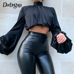 Wholesale high necked blouses resale online - Darlingaga Fashion Chic Satin High Neck Blouse Shirt Women Long Puff Sleeve Ladies Tops Elastic Waist Soft Shirts Crop Top