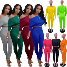 Wholesale one piece outfit pants for sale – dress Fall Winter womens clothing one shoulder two piece outfits set crop top slim leggings pants tracksuit sweatsuits plus size clothes