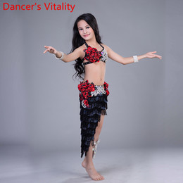 2020 Professional new girl Belly Dance tassel Long Skirt Set child Sexy Dancer Practice Costume Set +skirt white and black