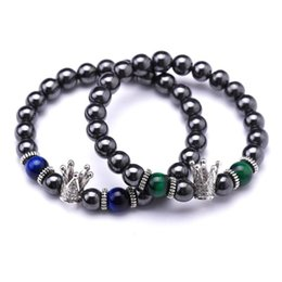blue tigers eye bracelet NZ - 6pcs Hot Natural stone Tiger eyes stone bracelet green blue tiger 8MM beads crown Amulet meditation for Jewelry Making Free