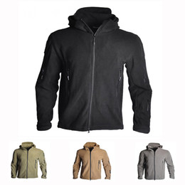Wholesale shot shell resale online - Men s Windproof Tactical Soft Shell Fleece Jacket Army Shooting Hunting Coats For Camping Hiking Thermal Hooded Jacket