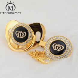 MIYOCAR Gold silver bling Rhinestone crown beautiful bling pacifier and pacifier clip BPA free dummy unique design GCR2 NdKx#