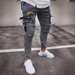 Wholesale skinny jeans cargo pants men for sale – denim Men Multi Pocket Ripped Skinny Jeans Destroyed Frayed Slim Fit Denim Pant Casual Male Slim Hole Zipper Nostalgic Blue Jeans Pants