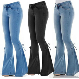 Mulheres Denim Jeans Sexy Elastic New pequeno chifre Feminino Slim Fit Pants Moda Hem Strap Bow Casual Sólidos longas Jeans