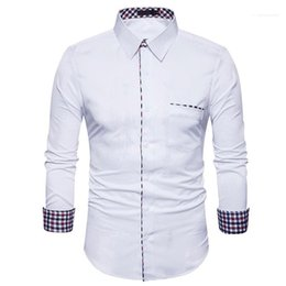 mens pipes Canada - Single Breasted Casual Homme Tops Spring Mens Piping Solid Shirts Lapel Neck Long Sleeve Male Tshirts Plaid