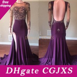 beautiful prom dresses open back NZ - Beautiful Long Sleeve 2019 Grape Evening Dress Jewel Neck Lace Appliques Beaded Open Back Long Mermaid Prom Gowns With Side Slit
