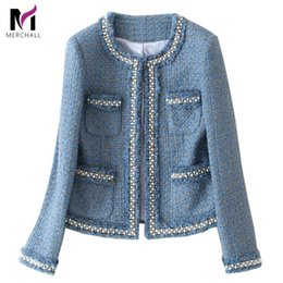 Blue Tweed Jacket Coat 2019 Autumn Women's Beading Long Sleeve Woolen Fringed Trim Tassels Pearl Pocket Runway Jacket T200831