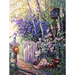 doors paintings NZ - 5D DIY Diamond Painting Full Square Landscape Hat and letterbox Cross stitch Diamond Embroidery Door Diamond Mosaic Scenery