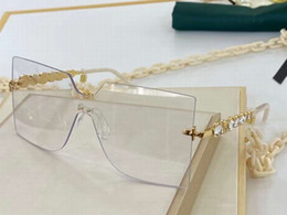 sunglasses golden chain Australia - Women Square Oversize Sunglasses Chain Rimless Clear Sunglasses Sonnenbrille fashion glasses gafas de sol with Box