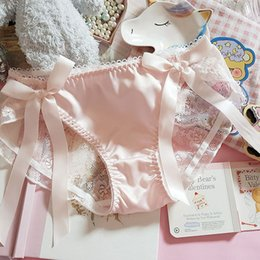 Discount bikini polyester panties bows Japanese Lolita Ruffle Panties Ribbon Bow Sexy Hollow Lace Satin Young Girls Underpants Underwear Brief Thong Lingeries
