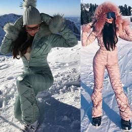 Ingrosso 2020 Ski Set tuta con cappuccio donna Tuta sport esterni Snowboard Jacket di un pezzo del vestito di sci Warm impermeabile vestiti di inverno