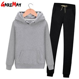 Wholesale womens suits set resale online - Women s Cotton Tracksuit Harm Sweat Pants and Hoodie Set Women Casual Long Sleeve Pieces Womens Sweat Suits Outfits Hooded CX200824
