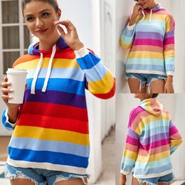 wholesale cropped sweatshirts Australia - cotton cropped sweatshirt women Rainbow Stripe womens hoodies customize ladies Knitwear Long Sleeve Pullover Casual Tops#3 vMdA#