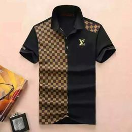 Wholesale t shirt polo sport resale online – New fashion Casual high quality Summer Hot Sale Stripe T shirt lapel Polo Cotton Shirt Men Short Sleeve Sport Polo T Shirt SS