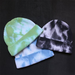 slouch beanie NZ - Tie Dye Slouch Hat Skull Caps Designers Beanies Fashion Ribbed Knitted Autumn Winter Warm Caps Sports Hip-hop Bonnet Hat Headwear D82811
