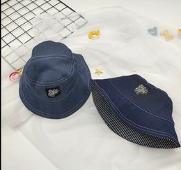 Wholesale thin denim fabric resale online – designer OfGHF Harajuku simple bucket bucket thin fisherman washed embroidery letter denim fabric children s Embroidered basin hat trendy baby f XPgUO