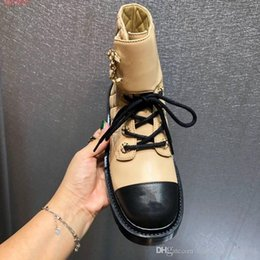 Wholesale lace sewn designs resale online – Female boots classical style boots chunky heels Martin shoes Desert lace up boots white and black nude Velcro lace up open design