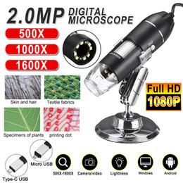 Großhandel Einstellbar 1600x 2MP 1080P 8 LED Digitalmikroskop Typ-C / Micro USB-Lupe Elektronische Stereo-USB-Endoskop für Telefon-PC