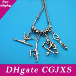 gymnastic charms NZ - Mixed Tibetan Silver Athlete Gymnastics Baseball Player Charms Pendants Jewelry Making Bracelet Necklace Fashion Popular Jewelry Accessories